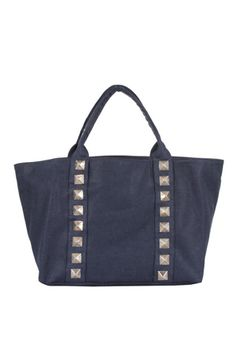 14421c31a887 Jet by John Eshaya Canvas Tote Bag w Studs in Navy--On Sale!
