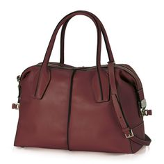 D-Styling small bowler bag crafted in exquisite, semi-glossy leather with exposed stitching and hand-dyed piping, zip fastening with leather slide and rounded twin handles, inner zip pocket and thin detachable shoulder strap. A high-end, hand-finished accessory.