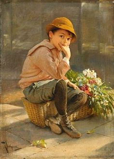 Karol Witkowski painter and painter of the Polish-American genre title of the painting - Guarding the flower basket How To Make Drawing, Fine Art, Flower Basket, Art Studies, Beautiful Paintings, Vintage Art, Art For Kids, Sculptures, My Arts