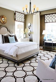 Contemporary Home Decor Ideas ~ How to Decorate With Color: HGTV Smart Home Amazing master with graphic, contemporary colors and patterns Home Bedroom, Bedroom Decor, Master Bedrooms, Bedroom Ideas, Bedroom Designs, Dream Bedroom, Contemporary Home Decor, Contemporary Classic, Upholstered Furniture