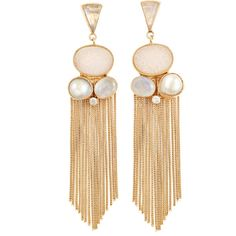 ATELIER MON Druzy Gold Fringe Earrings ($195) ❤ liked on Polyvore featuring jewelry, earrings, white, drusy earrings, yellow gold earrings, long gold earrings, 18k gold earrings and white earrings
