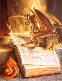 Painting - Little Book Dragon Diamond Painting - Little Book Dragon - Free worldwide shipping. New original designs every day. We also offer tools lighting pad, quick painting pens. Buy Diamond Painting on Diamond Painting - Little Book Dragon - Free w. Gold Dragon, Dragon Art, Dragon Book, Tiny Dragon, Little Dragon, Yellow Dragon, Bronze Dragon, Fantasy World, Fantasy Art