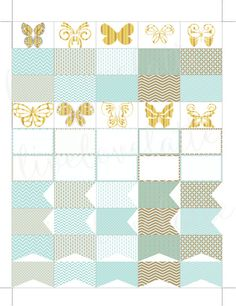 MINT GOLD BUTTERFLIES Half Box Page Flags Erin Condren (Vertical) Planner Stickers - digital - Instant Download by LiveLoveLatte on Etsy
