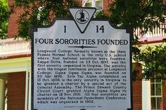 "Longwood College and the Farmville Four. Kappa Delta, Zeta Tau Alpha, Alpha Sigma Alpha and Sigma Sigma Sigma were founded at what is today Longwood University. They are known as the ""Farmville Four."" http://wp.me/p20I1i-DO #SororityHistory #FarmvilleFour"