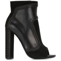 Tom Ford Braided Trim Booties (2,185 CAD) ❤ liked on Polyvore featuring shoes, boots, ankle booties, black, black boots, black booties, black ankle booties, woven boots and tom ford