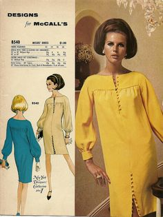 yellow designs for mcall's – Women's Fashion 1960s Dresses, Vintage 1950s Dresses, Vestidos Vintage, Retro Dress, Vintage Outfits, 70s Women Fashion, Sixties Fashion, Retro Fashion, Vintage Fashion