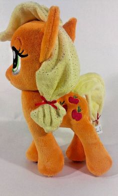 "My Little Pony AppleJack Apple Orange Plush Stuffed Animal Horse 10"" Aurora  #Aurora"