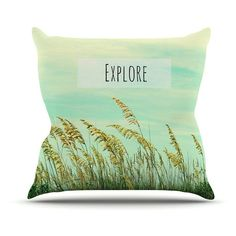 Kess InHouse Robin Dickinson Explore Quote Indoor/Outdoor Throw Pillow - RD1049AOP0