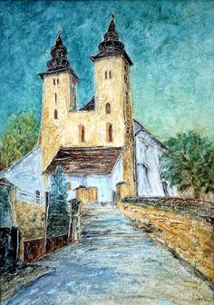 Pavel Móza - Diviaky nad Nitricou - románsky kostol, olej, 2002, 41x29 cm, cena - 600€