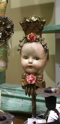 Altered Doll Head Art by Jeanette Crooks