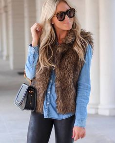 #winter #outfits denim button shirt, leather leggings, faux fur vest