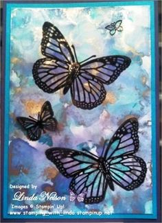 Turquoise and Purple Vibrant Butterfly Card - Polished Stone technique background