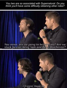 Supernatural - typecast as Sam and Dean | Jensen and Jared J2