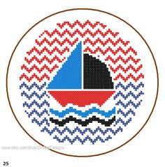Instant Download cute Yacht Cross Stitch by ZindagiDesigns