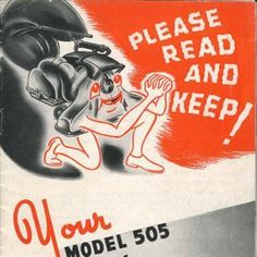We love this cute vacuum cartoon on the front of the Model 505 Owner Manual.