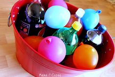 Fill balloons, freeze them, and use it to keep drinks cold! You can also take the rubber off and use ice spheres for a punch bowl!