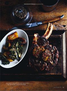 oven roasted rib eye steak with porcini & port butter, crispy pan fried kale, eschallots and potatoes