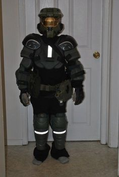 """My step son is a HUGE fan-atic of Halo (Xbox) and wanted to be Master Chief for Halloween, of course he told me this a mere 4 days before Halloween, and I knew very little to nothing about who this chief guy even was. I started with google, found what seemed to be the main pics from the games pictorial cover and I was off and running. I actually de-contructed the pics and decided to head out to the 'Armor"""" store....aka the local sports re-cycler. I pretty much found everythin..."""