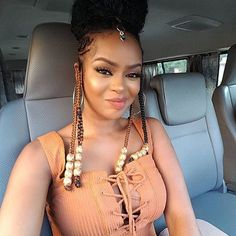 Afro Hairstyles are great with buns, updos, ponytails, braids, curls. To be a natural beauty you must see these hairsyle ideas right now. Braided Hairstyles For Black Women, African Hairstyles, Ponytail Hairstyles, Popular Hairstyles, Black Girl Braids, Girls Braids, Beautiful Braids, Gorgeous Hair, Curly Hair Styles