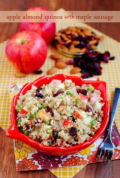Apple Almond Quinoa with Maple Sausage | http://iowagirleats.com/2012/10/30/apple-almond-quinoa-with-maple-sausage/