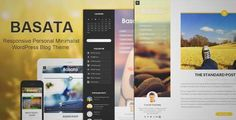 Download and review of Basata - Retina Responsive WordPress Blog Theme, one of the best Themeforest Magazine & Blogs themes