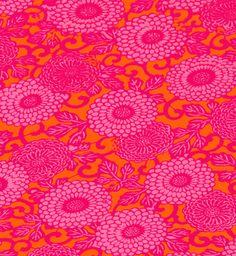 Kerrie Brown Fabric Chrysanthemum Pink And Orange Upholstery Fabrics Are 120 Per Metre