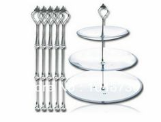 3 Tier Cake Stand Cake Plate Display Holder Handle Fittings Silver Metal for Tea Shop Room Hotel Weding Party € 7,74