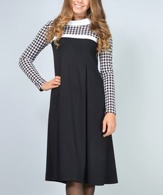 Black Pleated Houndstooth Shift Dress - Plus Too