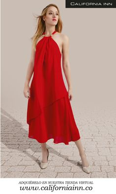 Vestido Long Pixie Rojo, en Chifon viscoso unicolor viene en tonos amarillo, rojo y coral. Tallas: S-M-L