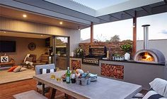 Make the most of your outdoor living room. Find out how to design your outdoor living room with this instructional guide from Bunnings. Simple Outdoor Kitchen, Rustic Outdoor Kitchens, Outdoor Kitchen Bars, Outdoor Kitchen Design, Outdoor Rooms, Outdoor Areas, Outdoor Barbeque Area, Pizza Oven Outdoor, Bbq Area