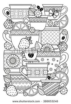Coloring book for adult. Cups of herbal tea and coffee.Flowers and fruits. Raster copy.