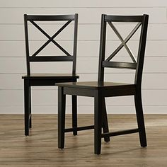 Cross Back Dining Chairs Set of 2, Contemporary Side Seats - Black or White (Black)