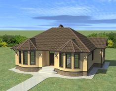 Free House Plans, Cabin House Plans, Small House Plans, Village House Design, Village Houses, Octagon House, Modern Bungalow House, Rest House, Windows