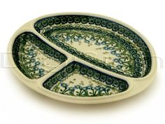 Polish Pottery 11-inch Divided Dish | Boleslawiec Stoneware | Polmedia H6124A