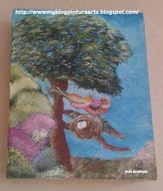 Arte com tinta e linha - By  Inês Andrade: Pintura em tela, árvore e pássaros