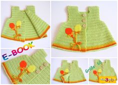 """Häkelanleitungen - E-BOOK Häkelanleitung: Baby Weste """"LUCKY"""" - ein Designerstück von onmyway bei DaWanda Crochet Bebe, Crochet For Kids, Free Crochet, Knit Crochet, Häkelanleitung Baby, Baby Girls, Crochet Baby Clothes, Crochet Dresses, Baby Pullover"""