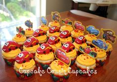 Car's theme cupcakes- lightning mcqueen made of cake