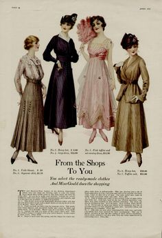 1916 an ad for clothing with the PRICES! Always helpful to have.