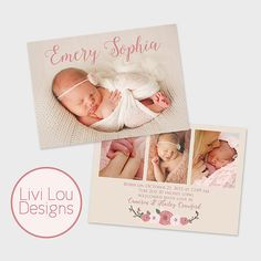 Simple Baby Girl Birth Announcement Floral Double Sided Photo Baby Announcement Card