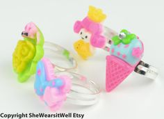 Little Girls RingsSet of FOUR Rings Ice cream by SheWearsitWell, $12.00