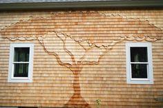 Tree shingle art by Jolly Roger Woodworking, Eastham, MA https://www.facebook.com/JollyRogerWoodworking/