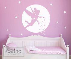 Moonlit Tinkerbell silhouette vinyl wall by CarinoVinylDesigns