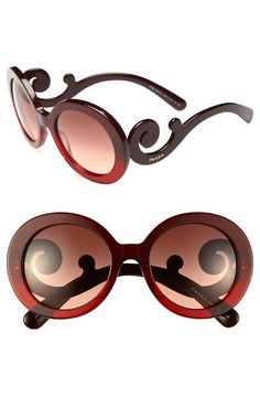 Prada 'Baroque' Red Round Sunglasses