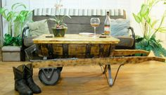 ANTIQUE VINTAGE WOOD BARREL INDUSTRIAL DOLLY HAND CART COFFEE TABLE in 1900-1950   eBay