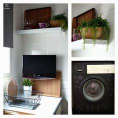antes y después de mi cocina sin obras. Lavadora pintada con pintura de pizarra (electrodomésticos pintados con pintura de pizarra)