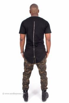 Black Zipper Back Extended Shirt