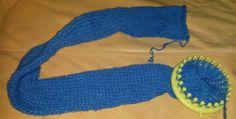 Strickschlauch, Schal, Wolle, blau, Strickrahmen rund, selbstgestrickt, stricken