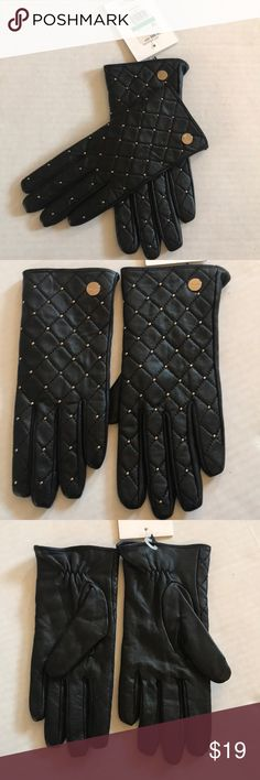 """NWT Calvin Klein Stud Leather Black Leather Brand New With Tags ✨ 100% Leather ✨Gold Metal Studs ✨ Length 8.5"""" Calvin Klein Accessories Gloves & Mittens"""
