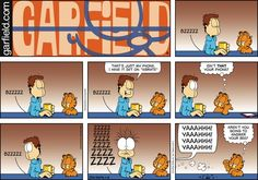 "Created by Jim Davis, Garfield is about the famous fat cat and his hilarious daily adventures with his ""pal"" Odie and others. Garfield And Odie, Garfield Comics, Stupid Memes, Funny Jokes, Hilarious, Hagar The Horrible, Funny Comic Strips, Jim Davis, Cartoon Jokes"
