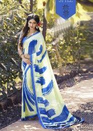 Casual Wear  Georgette Blue Printed Saree